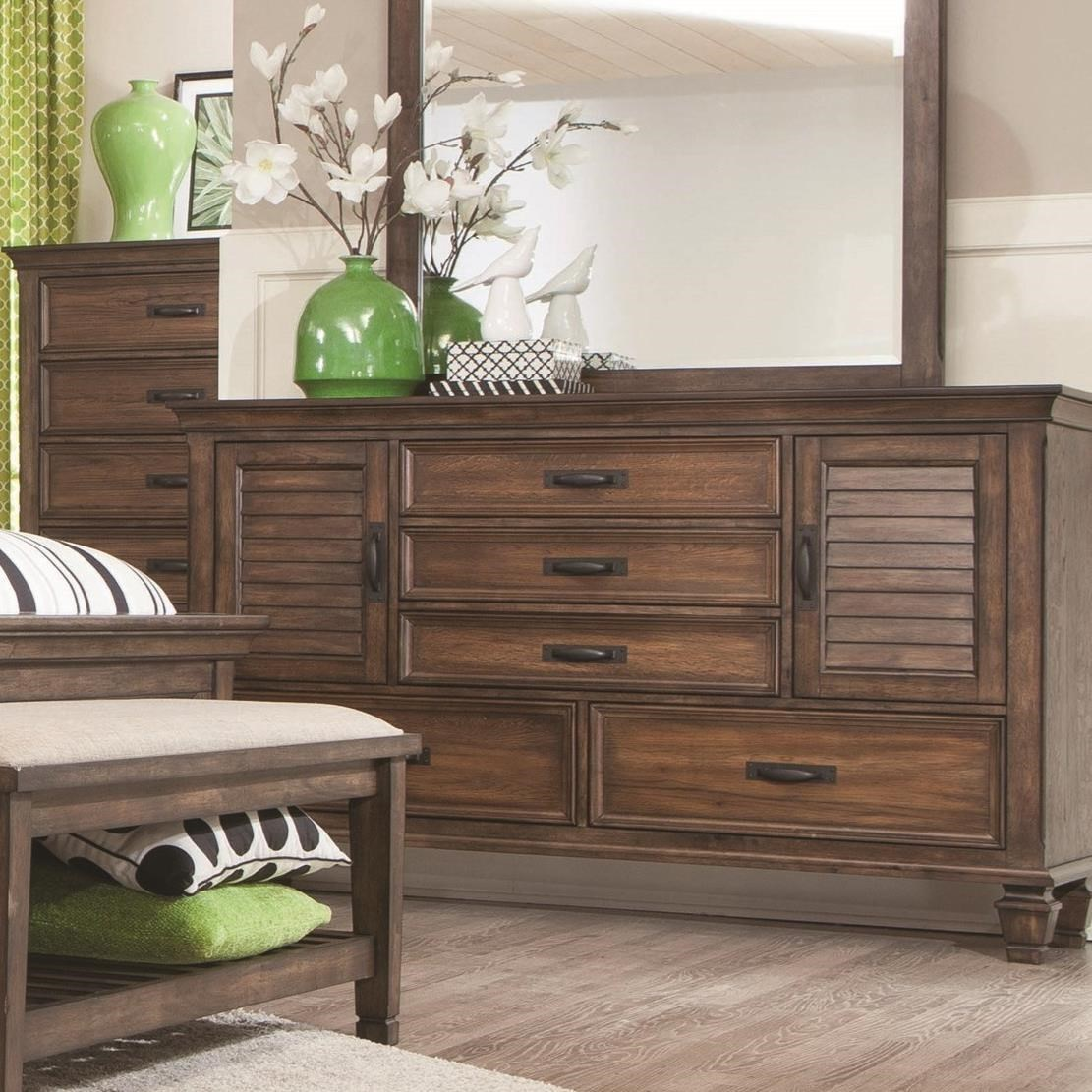 Franco Collection 200971 Bedroom Set in Rustic Burnished Oak by ...