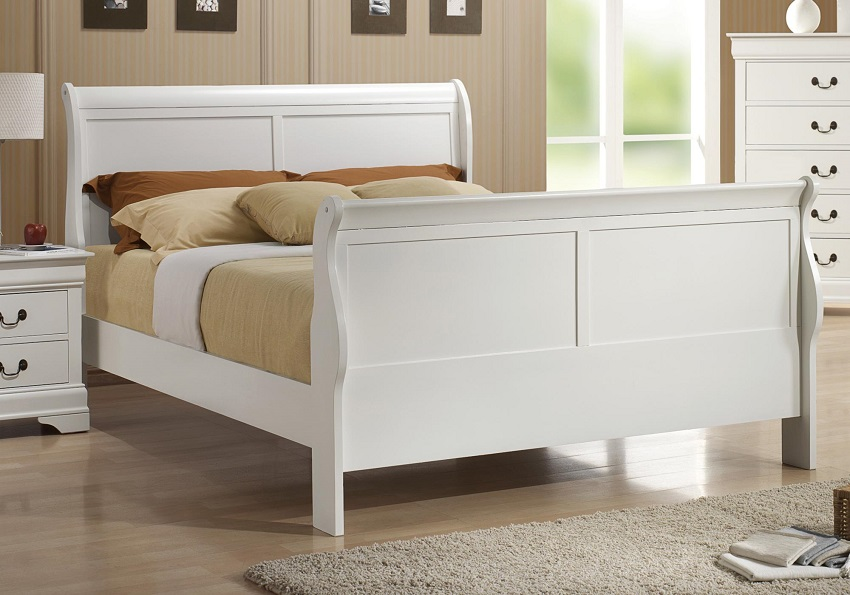 White Sleigh Bed Orange County, White Queen Bed Anaheim, Sleigh ...