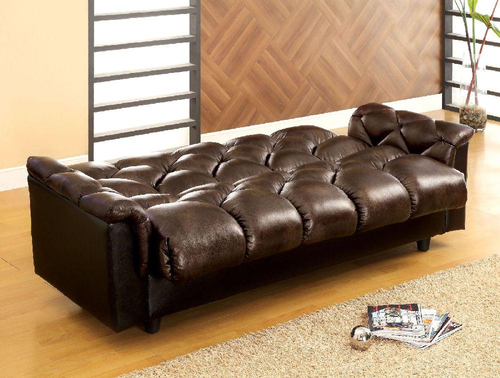 Furniture of America 2120 Two Tone Brown Storage Futon Sofa Bed