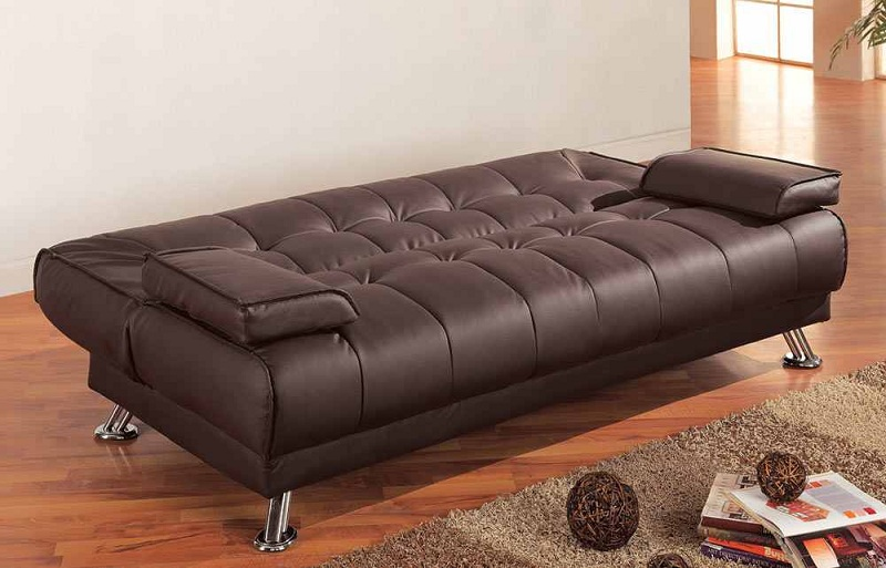 300148 Brown Bonded Leather Futon Sofa Bed