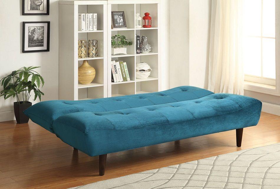 Coaster Furniture 500098 Brunden Teal Velvet Tufted Futon