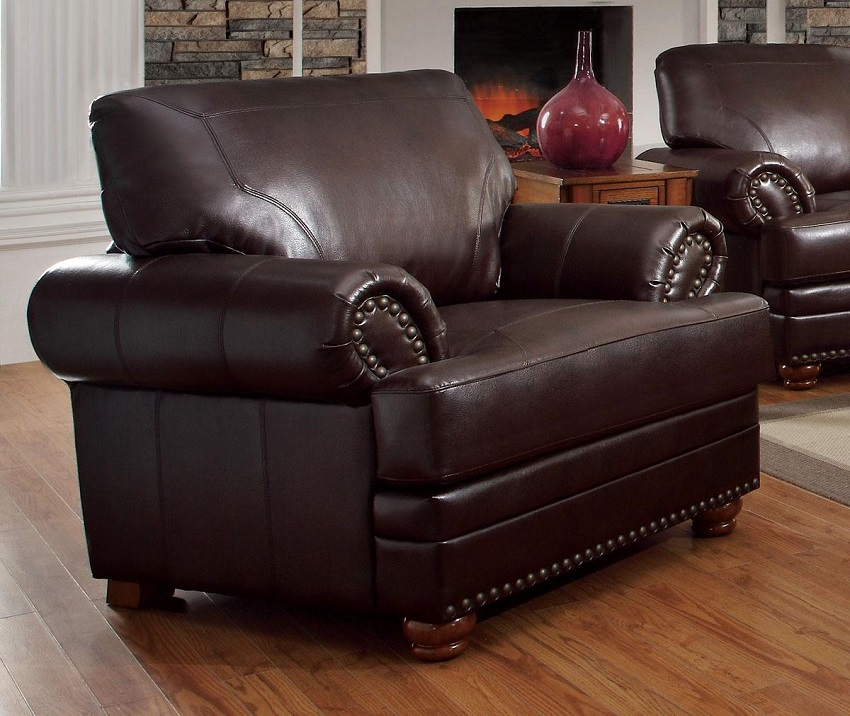 Colton Collection 504411 Sofa & Loveseat Brown Leather ...