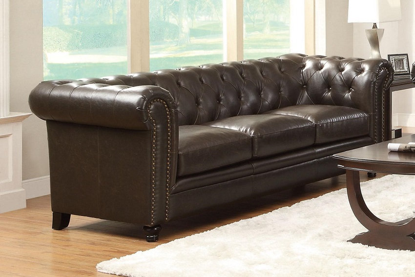 Roy collection 504551 sofa loveseat set brown leather for Roy button tufted sectional sofa with armless chair