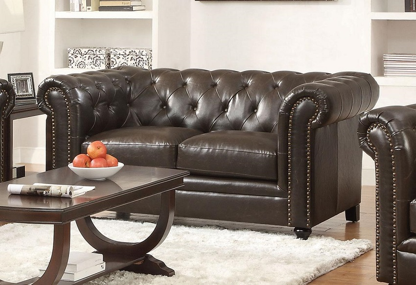 Roy Collection 504551 Sofa & Loveseat Set Brown Leather ...