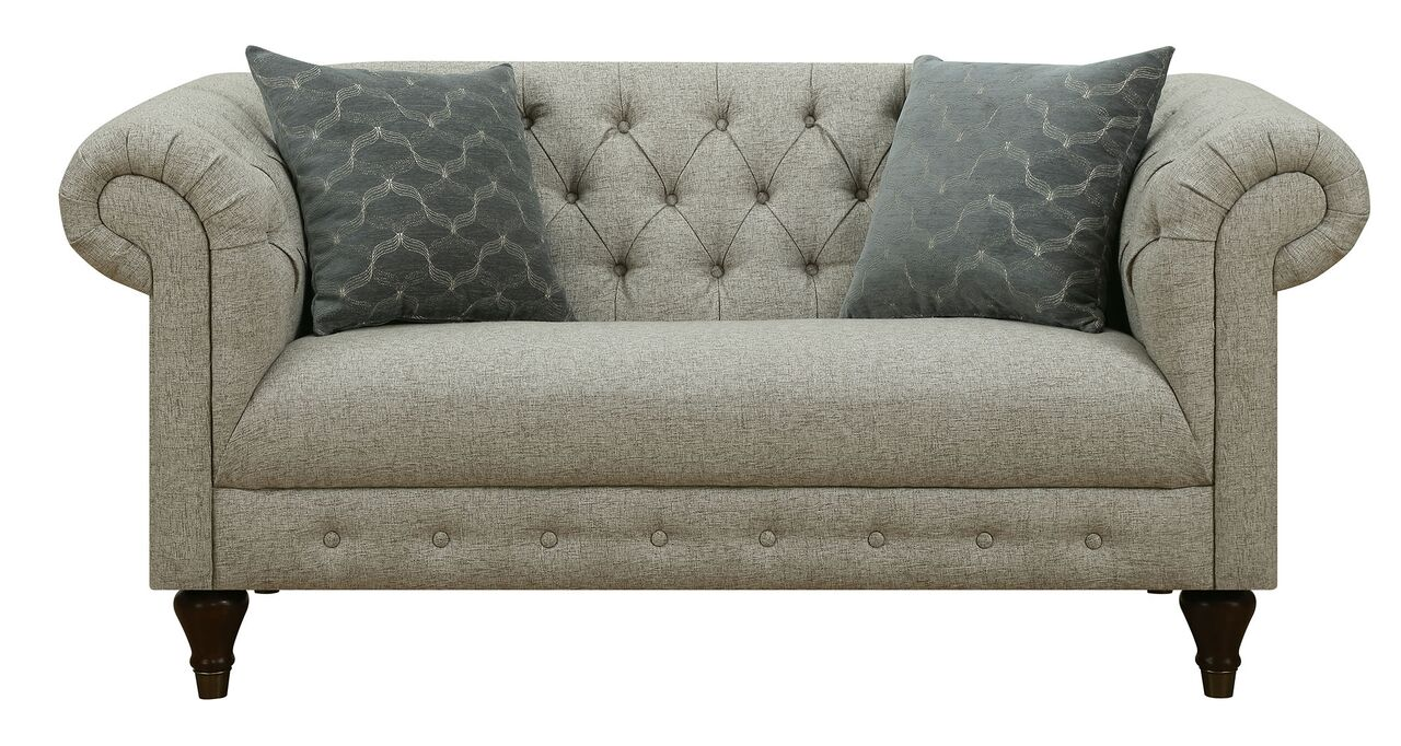 Donny Osmond Home Florence 505551 Tufted Rolled Arm Sofa Loveseat Set