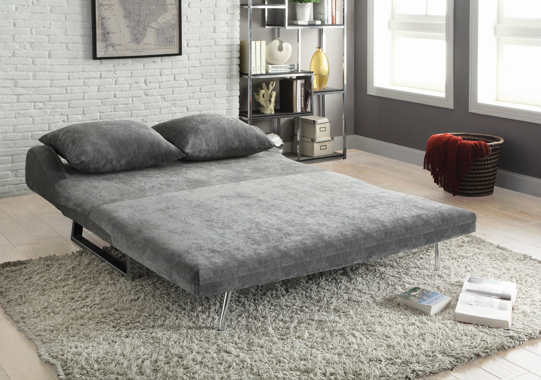 Coaster Tabby Grey Velvet Fold Out Futon with Metal Frame