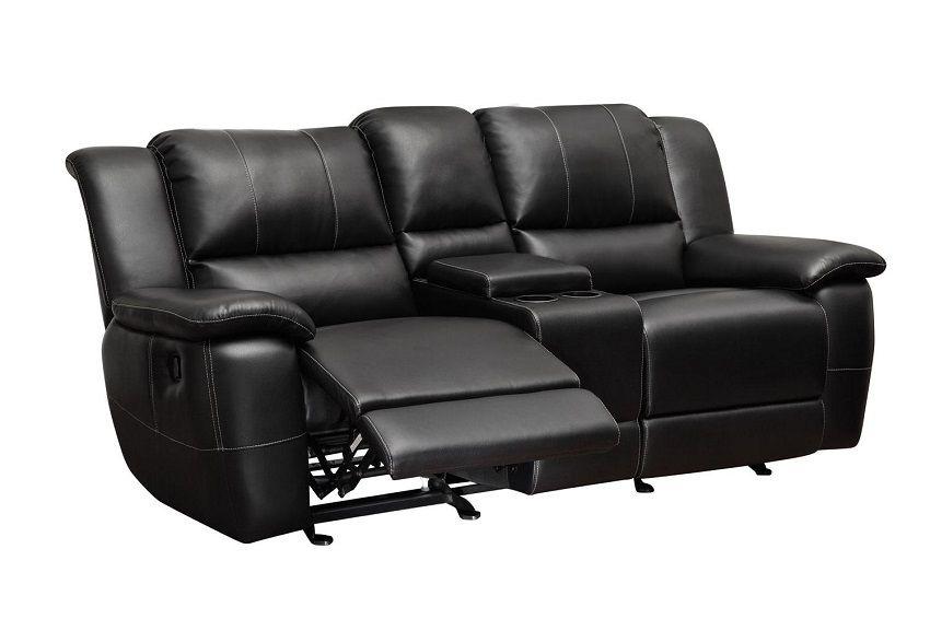 Bonded Leather Reclining Sofa Set Newport Beach Black