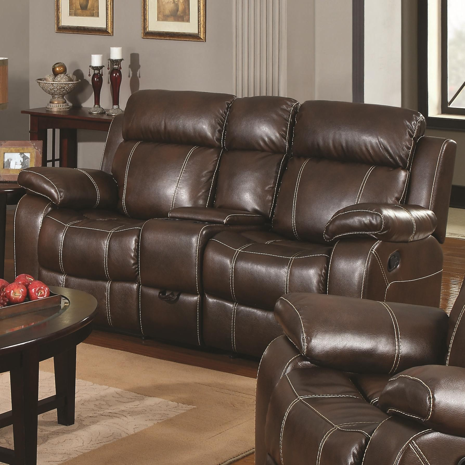 Myleene collection 603021 brown leather reclining sofa loveseat set Loveseats with console