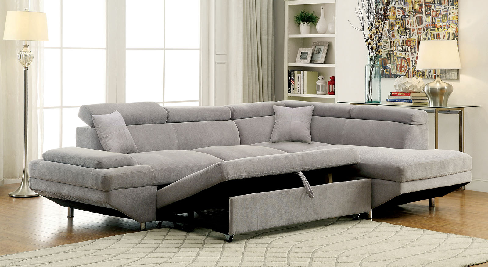 foreman gy gray sleeper sectional with chaise. furniture of america gy gray modern sleeper sectional sofa