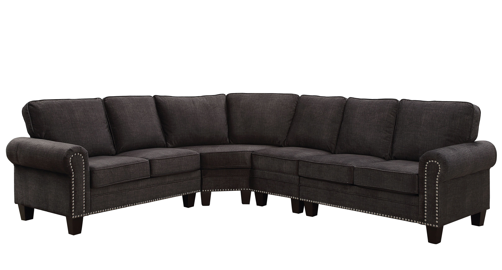 Elwick 6885 Dark Gray Rolled Arm Nailhead Trim Sectional Sofa