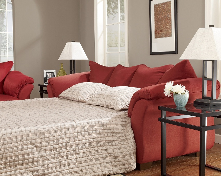Ashley furniture darcy salsa living spaces sofa and loveseat - Sofa small spaces collection ...