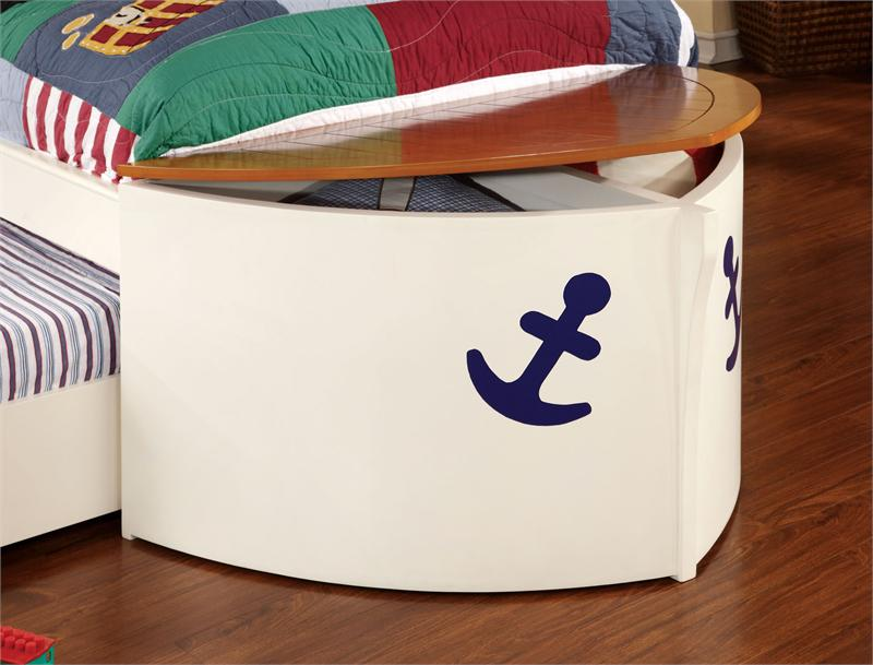 Boat Bed With Trundle And Toy Box Storage: Furniture Of America 7768 Twin Storage Trundle Storage