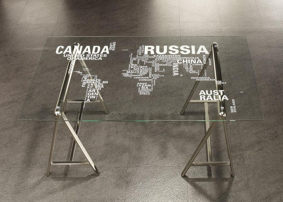 Coaster 801504 Sawhorse Writing Desk with Glass Top with World Map