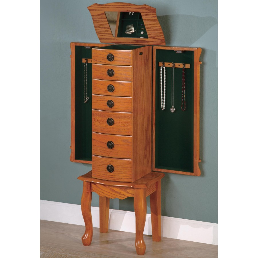 Classic brown oak collection 900135 jewelry armoire for Frigidaire armoire