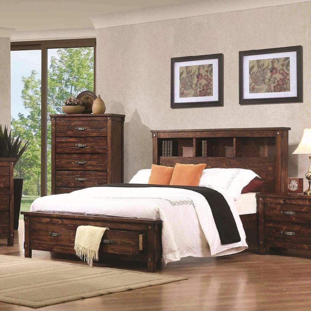 Noble Collection B219 Solid Alder Rustic Bedroom Set Finished in ...