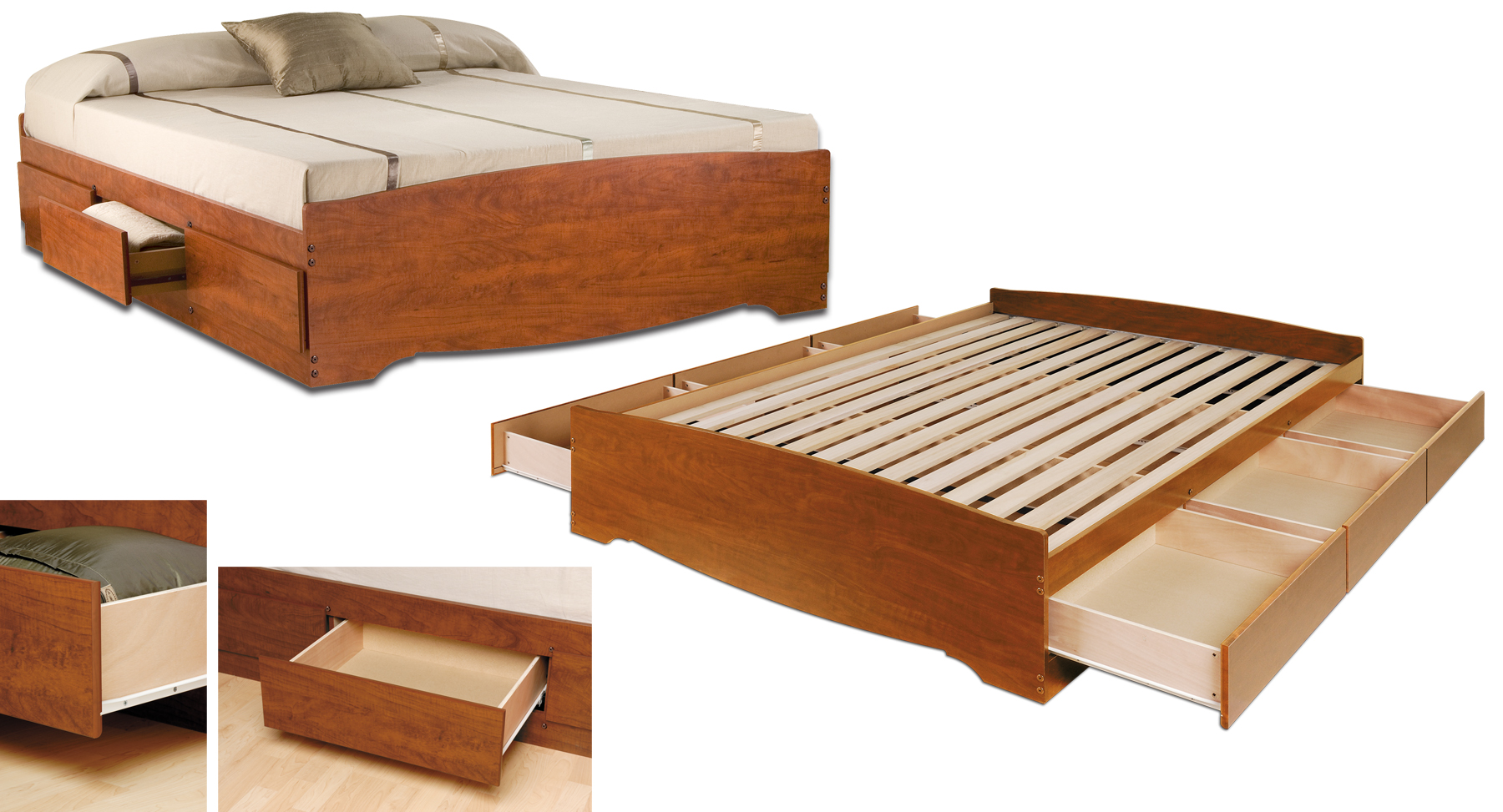 Prepac Cherry Queen Platform Storage Bed 6 Drawers