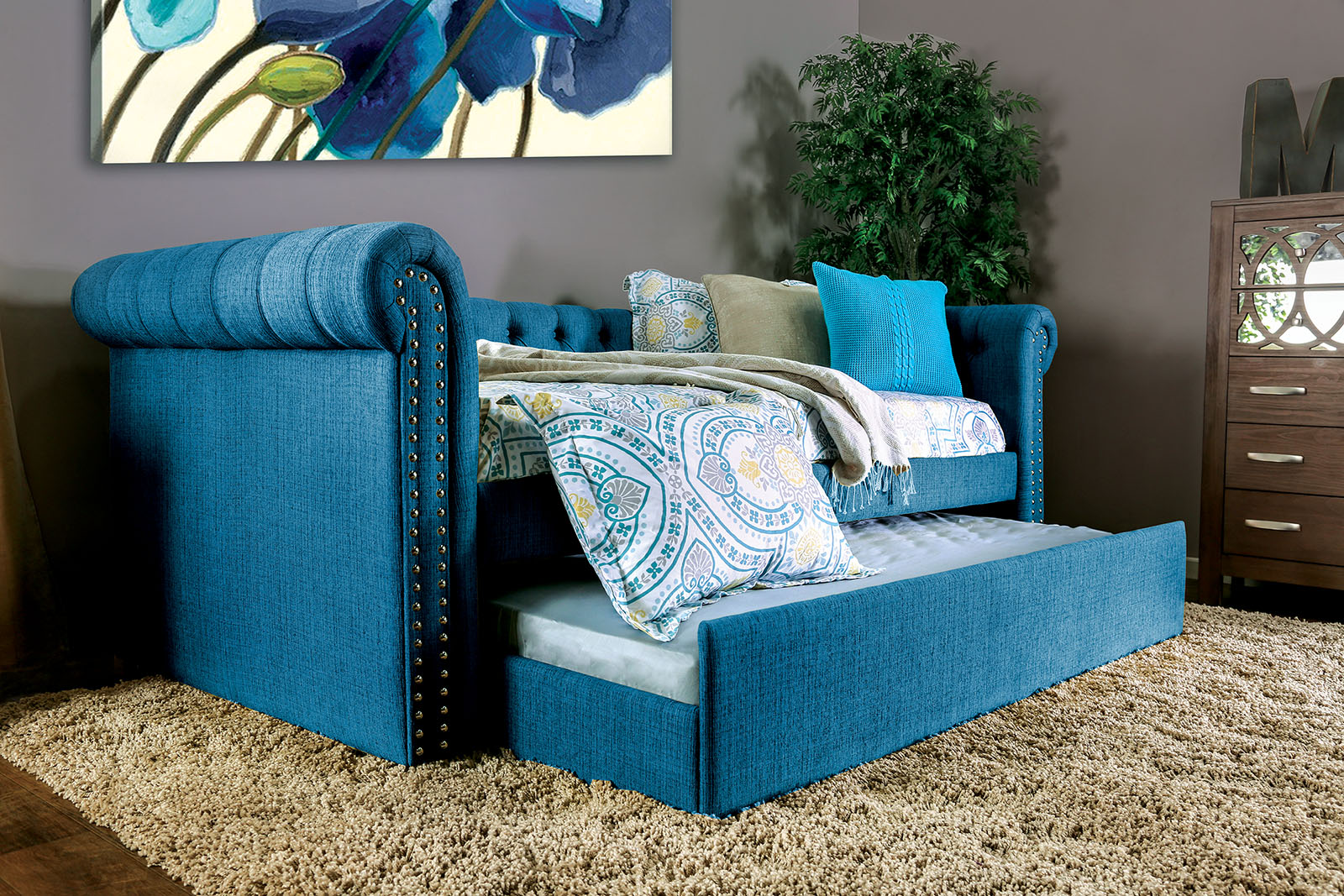 Furniture Of America 1027tl Teal Linen Like Twin Daybed