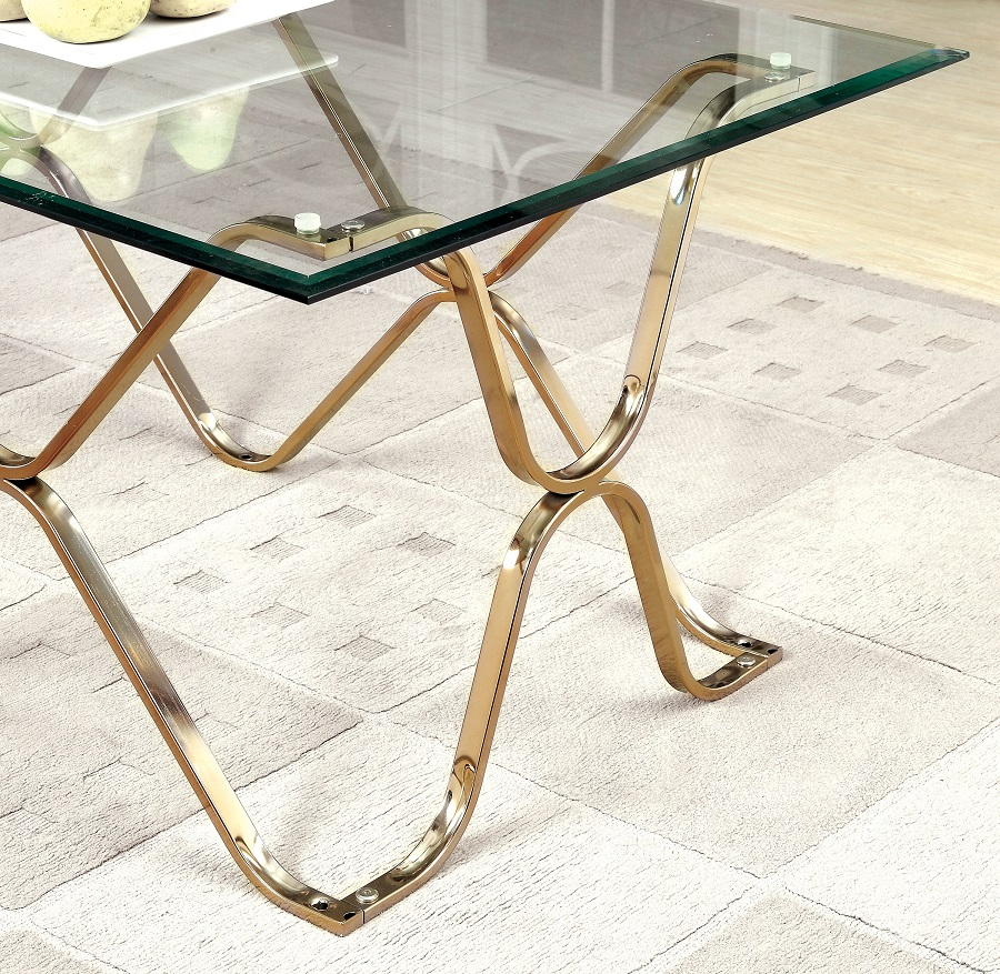 Vador Collection CM4229CPN Champagne Coffee Table Set