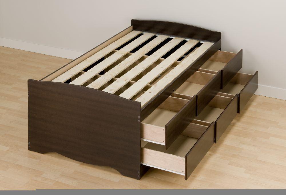 Prepac Espresso Tall Twin Mates Platform Storage Bed 6