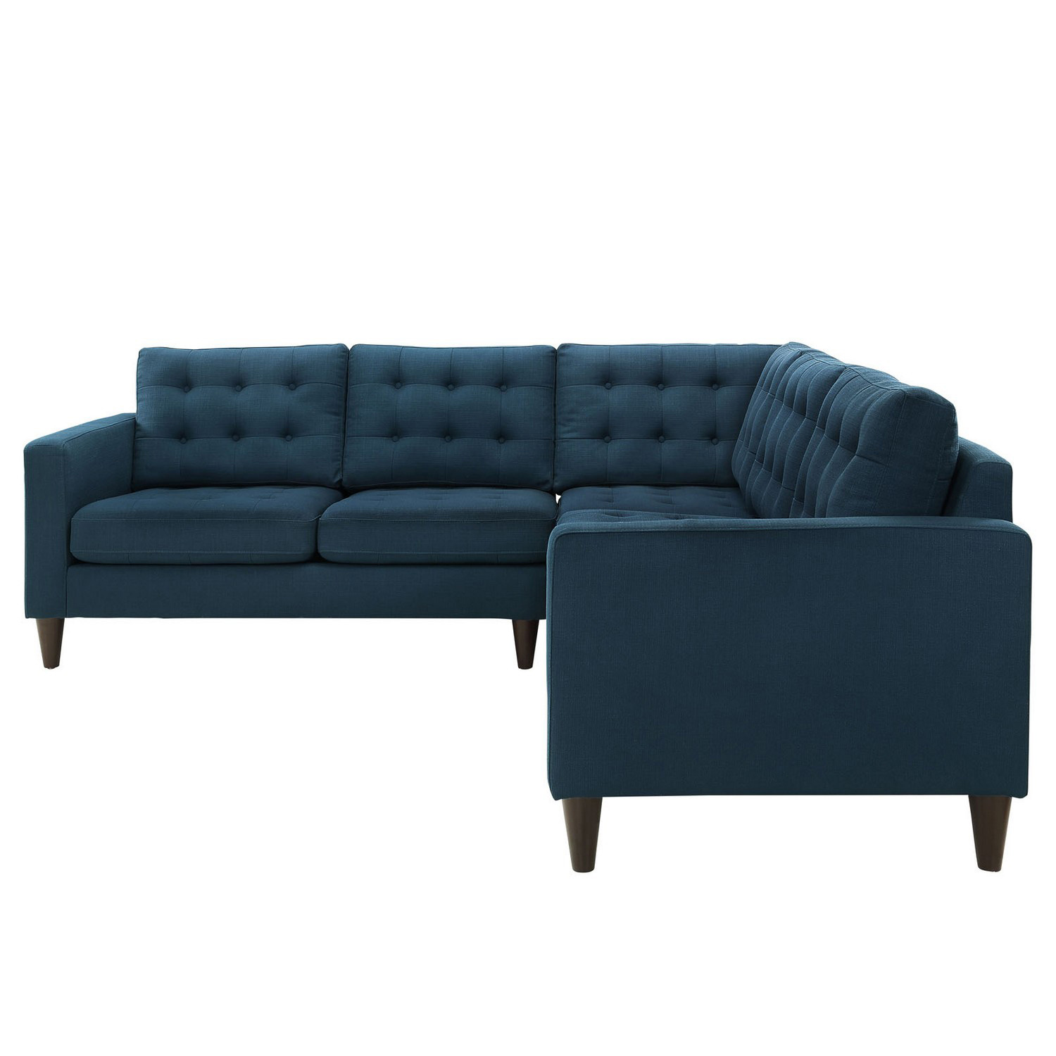 Modway Furniture Empress Navy Blue Fabric Sectional with Chaise