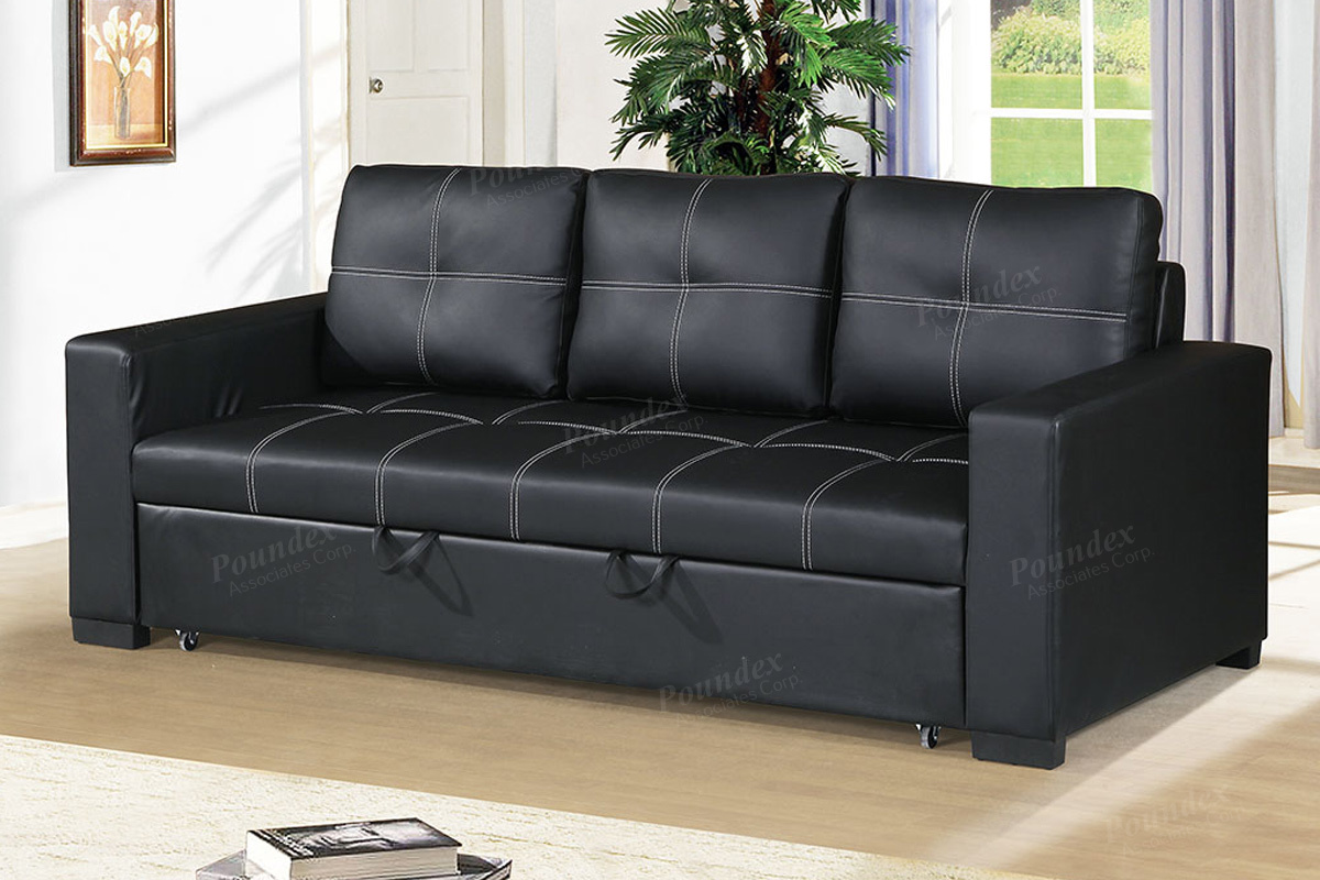 F6530 Black Faux Leather Convertible Sofa By Poundex