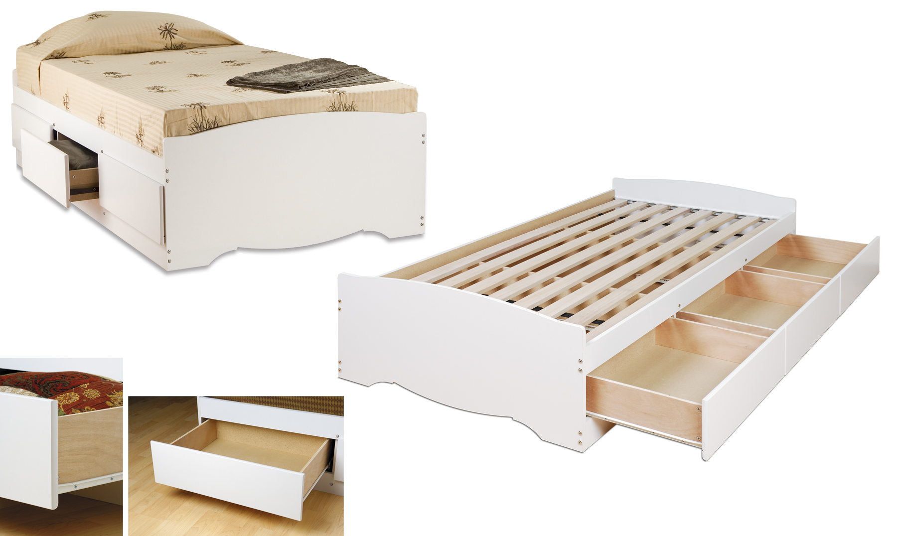 Prepac white twin platform storage bed 3 drawers for Twin bed frame clearance