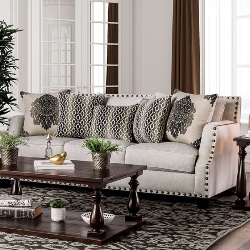 Beau Cornelia Beige Fabric Sofa SM3072 SF By Furniture Of America
