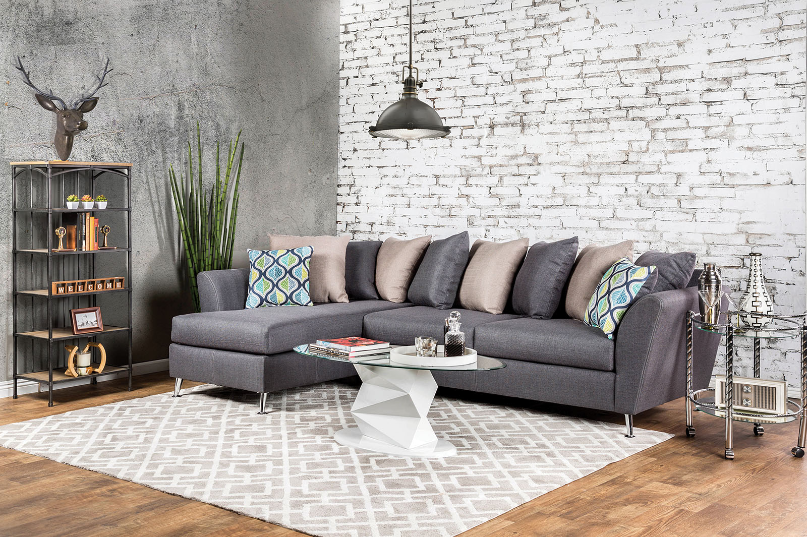 SM6201 Gray Loose Pillow Back Multi Color Sectional Sofa