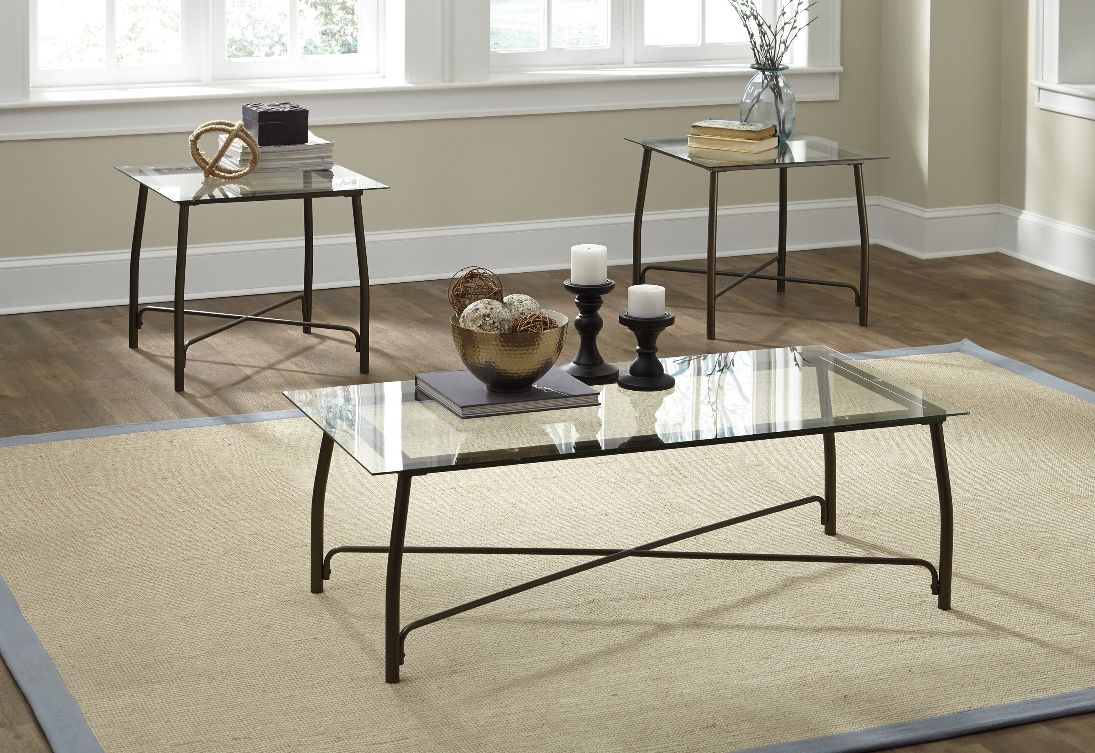 Burnesque Coffee Table Set T004 by Ashley Bronze Powder Coat