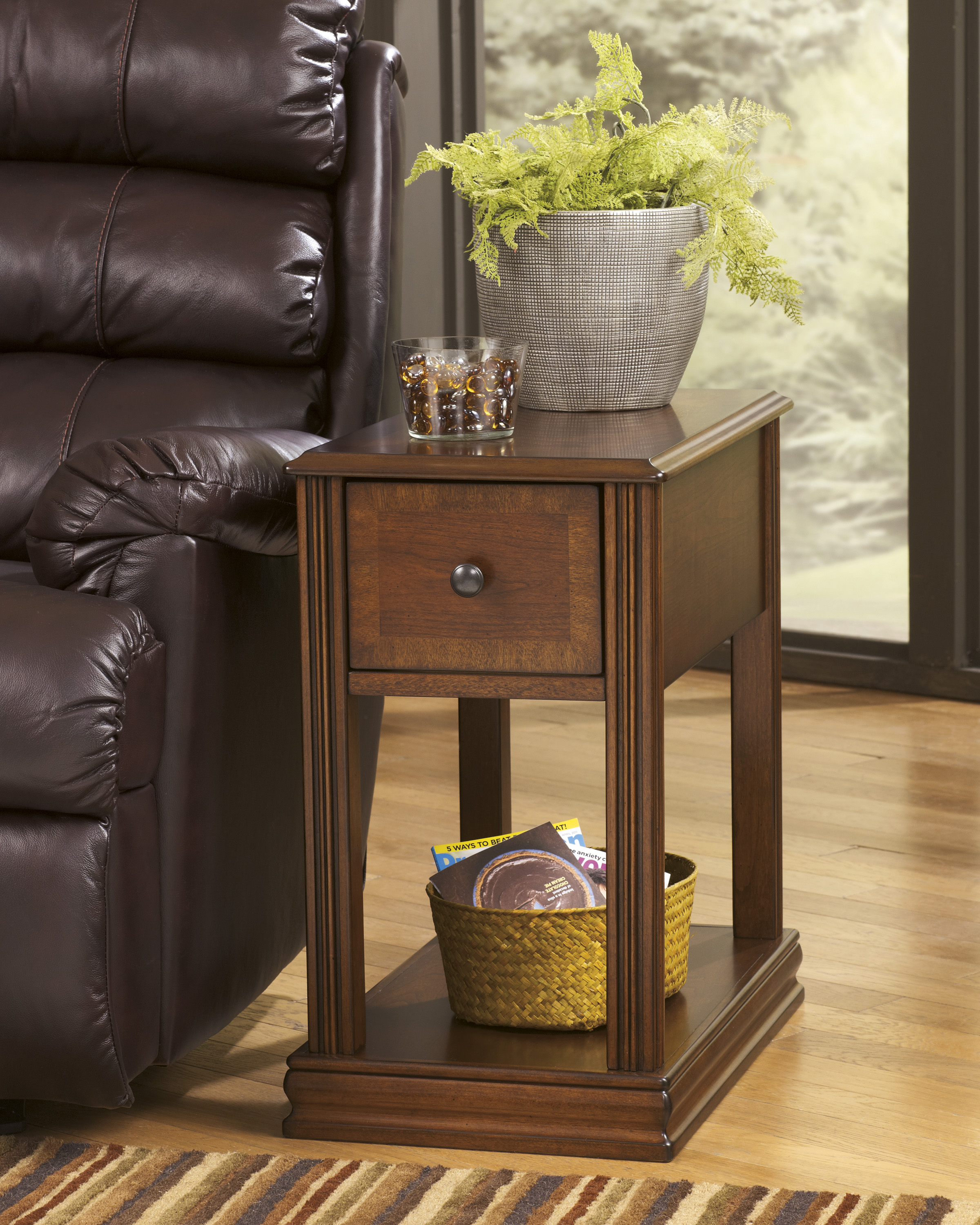 End Year Sale Ashley Furniture: Breegin Cherry Wood End Table By Ashley T007 Storage