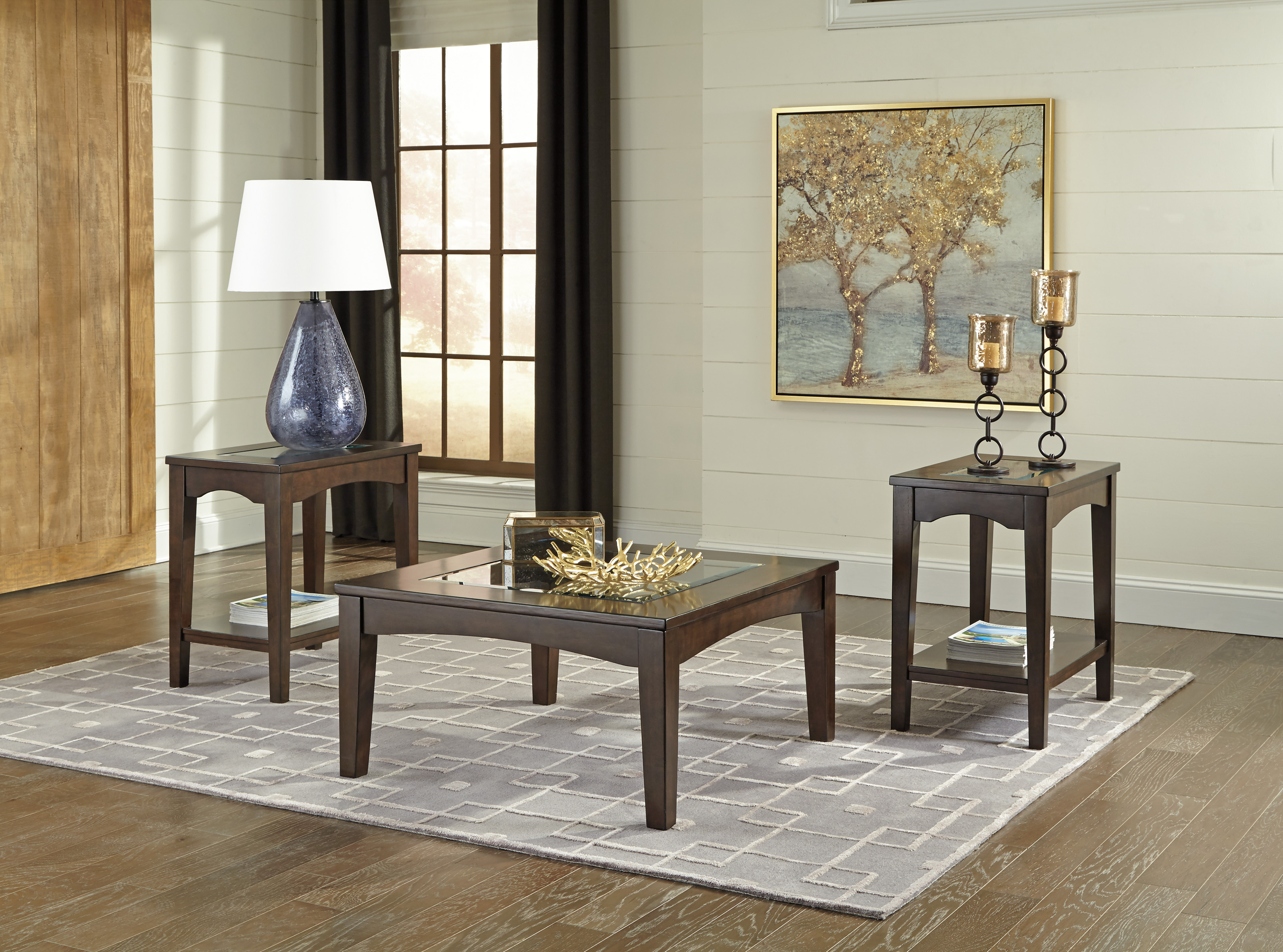 Cronnily T056 by Ashley Coffee Table Set Tempered Glass Birch Rich