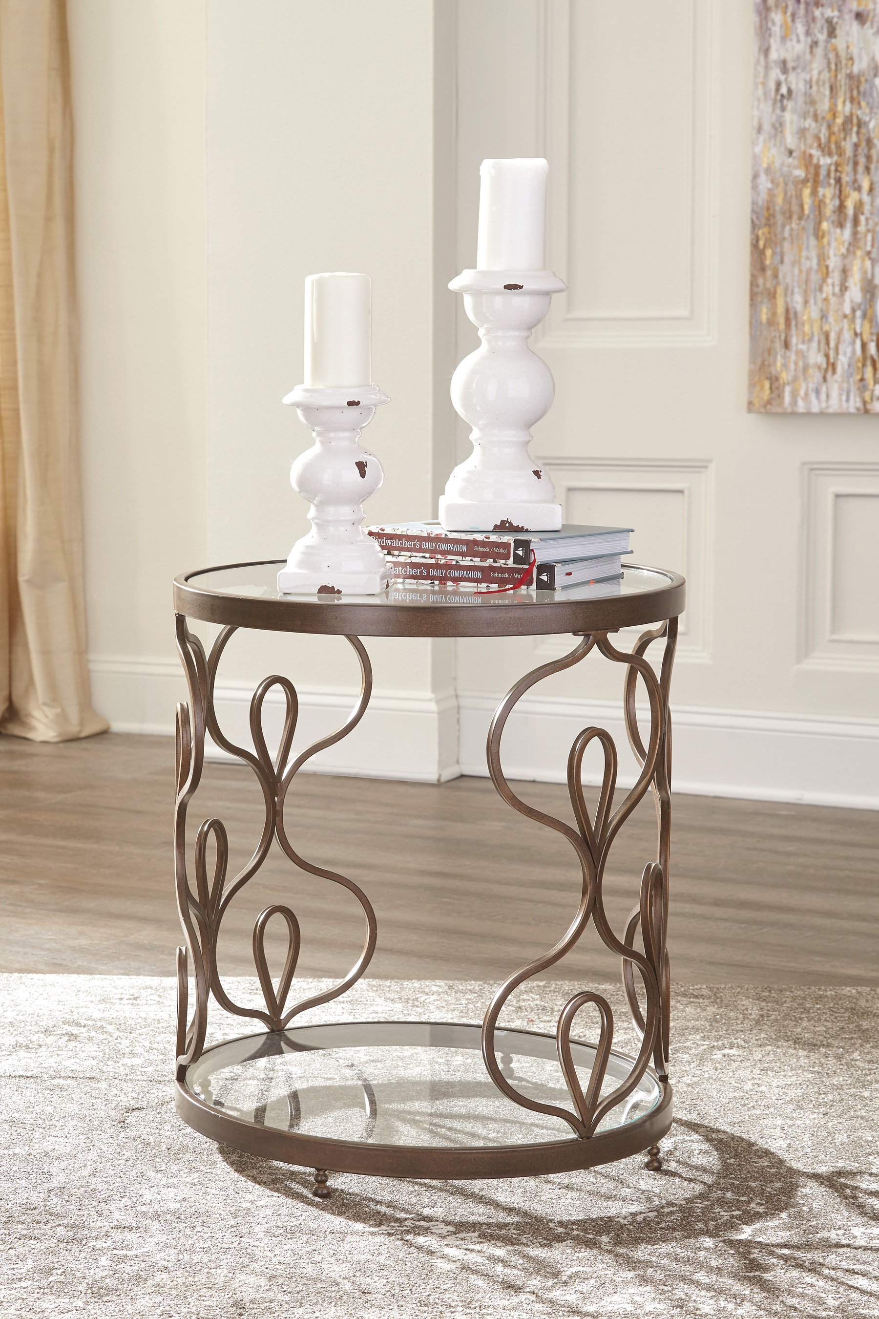Farloni Round End Table T086 by Ashley Furniture Glass