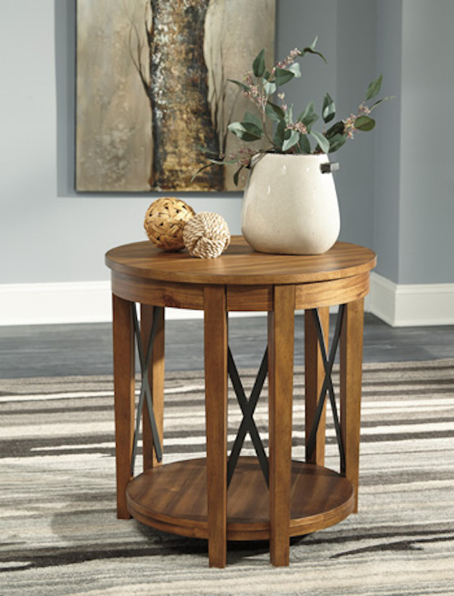 T433-6 Emilander by Ashley Round End Table Light Brown ...