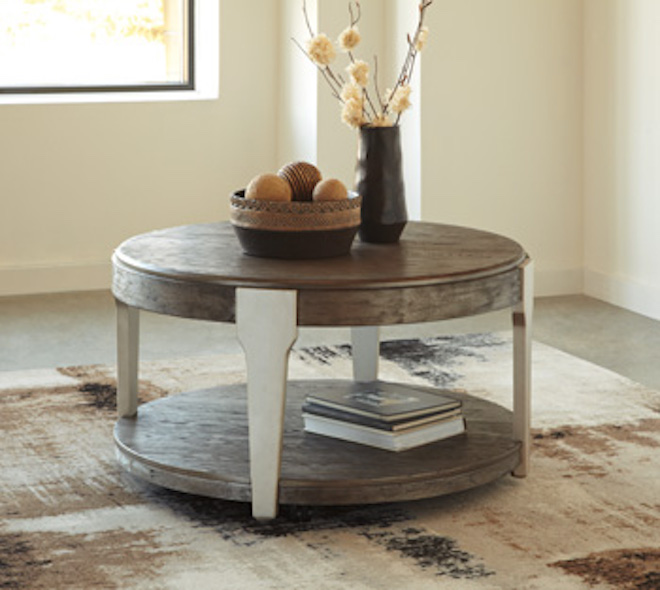 Ashley Coffee End Tables: T453-8 Brenzington By Ashley Round Cocktail Table Gray