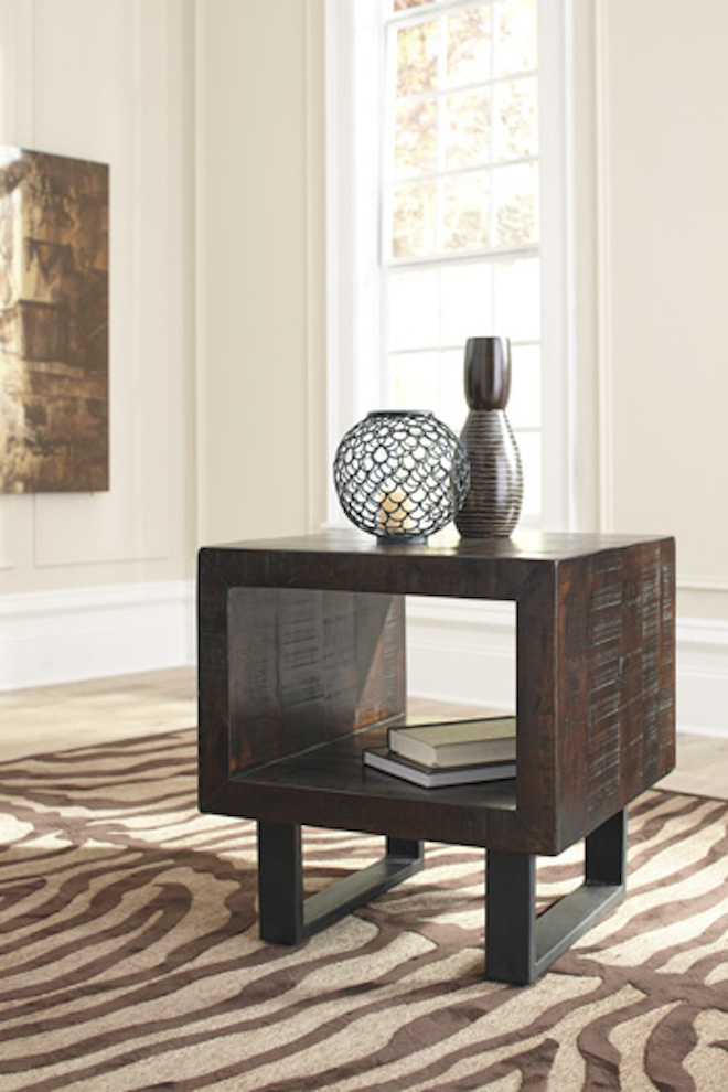 T881 3 Parlone Ashley Rectangular End Table Brown Black Contemporay