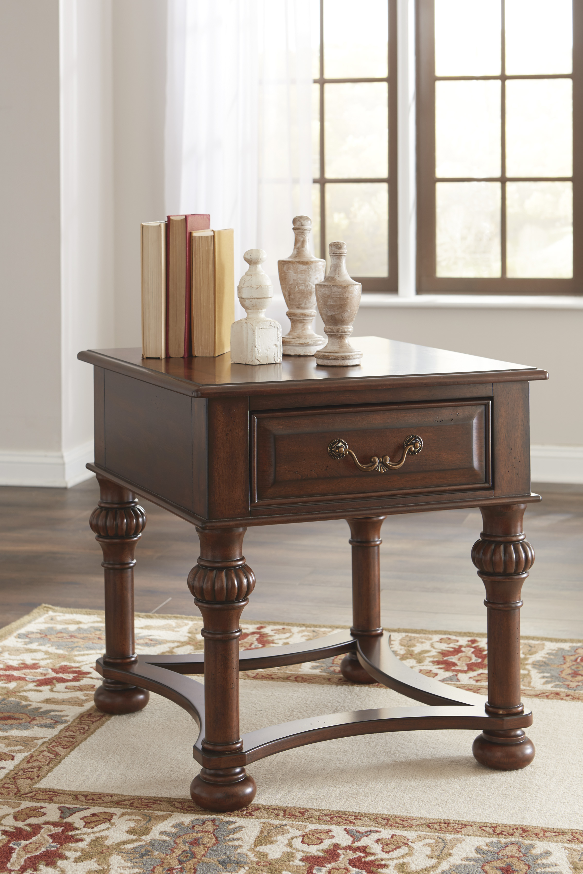 Beisterfield End Table T907 By Ashley Furniture Brown Cherry Wood