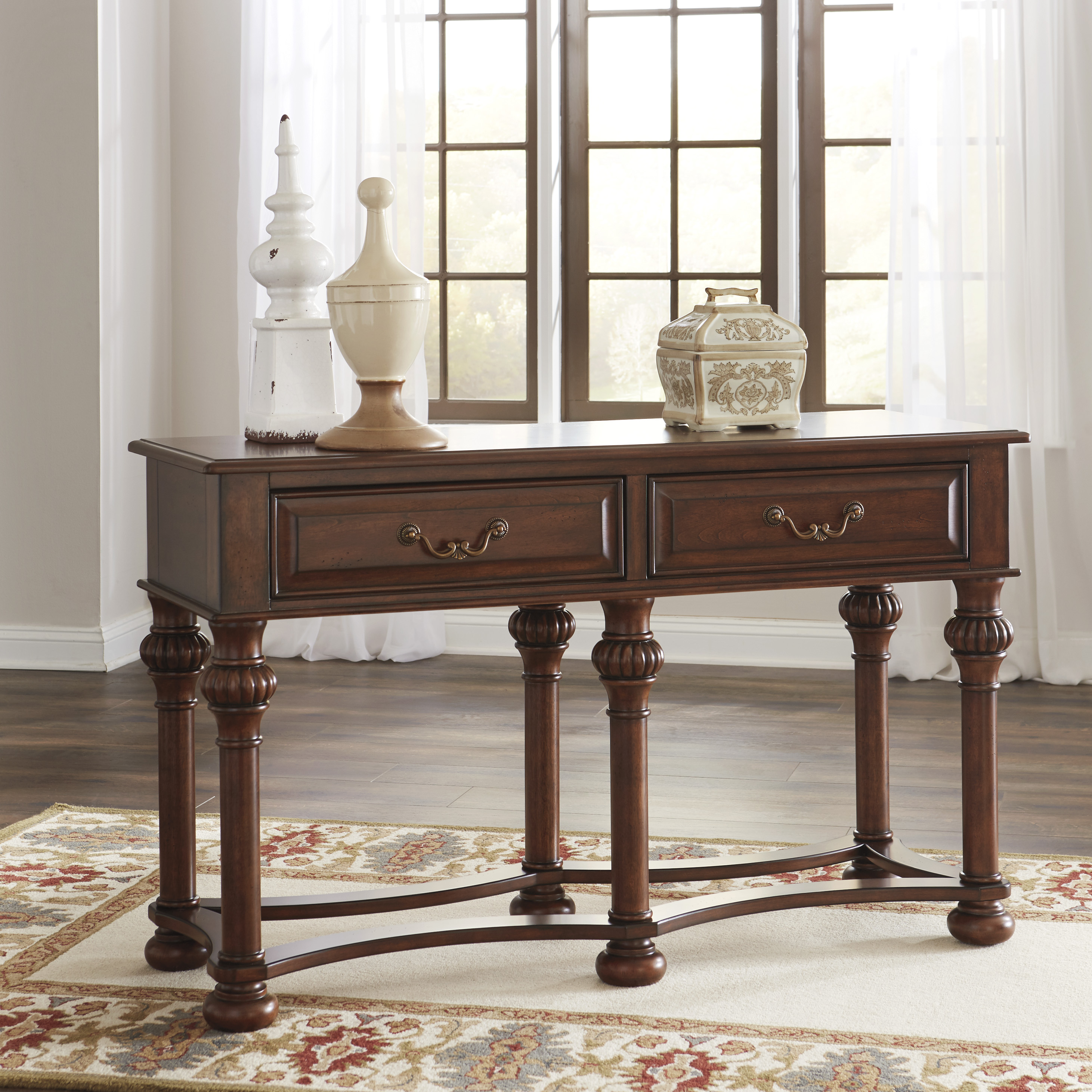 Ashley Cherry Wood Coffee Table: Beisterfield Sofa Table T907 Brown Cherry Wood Curved