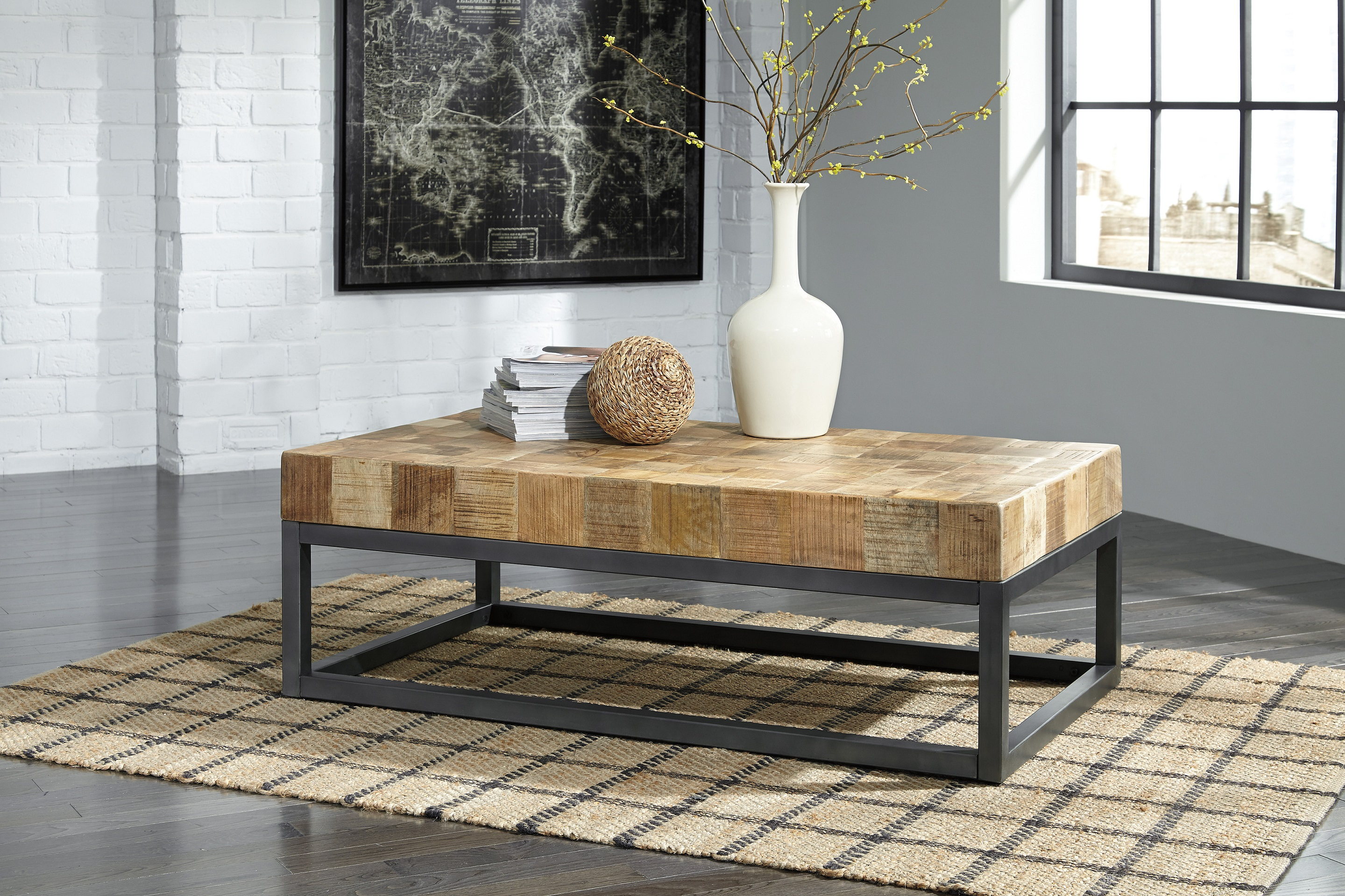 Prinico Coffee Table T943 by Ashley Furniture Solid Mango Wood