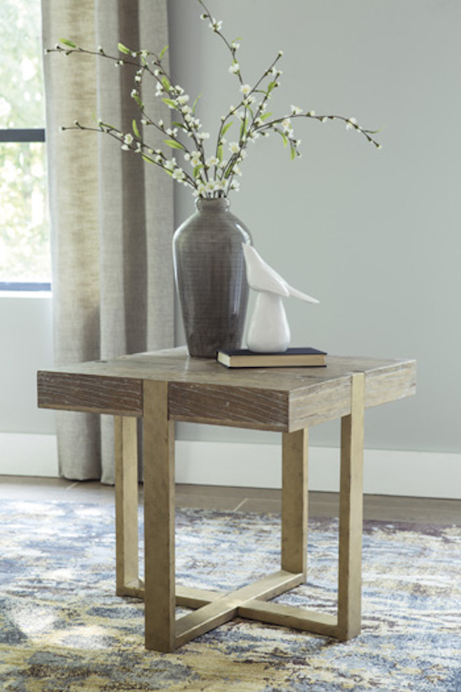 T945 2 Paluxy By Ashley Square End Table In Light Brown Casual