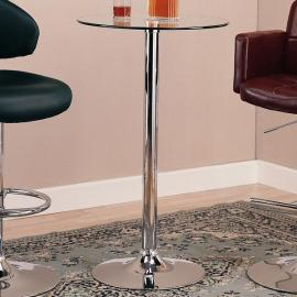 Coaster 120341 Chrome & Clear Tempered Glass Bar Table Only
