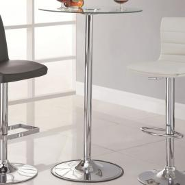 Coaster 122400 Chrome & Clear Tempered Glass w LED Lighting Bar Table Only