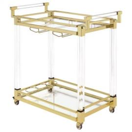Clear Acrylic and Brass Serving Cart by Coaster 181000
