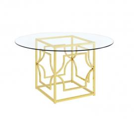 Evianna by Scott Living Glass with Brass 191961 Dining Table Only