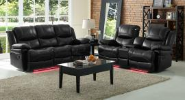 Flynn Collection 20-2177-PBK Black Reclining Sofa & Console Loveseat Set