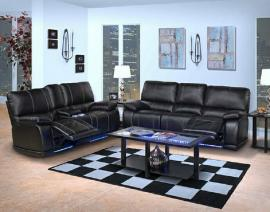 Electra Collection 20-382-MBK Black Reclining Sofa & Console Loveseat Set