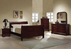 Louis Collection 203971 Cherry Sleigh Bedroom Set