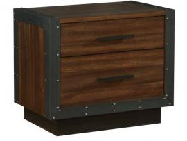 Scott Living Ellison 205242 Rustic Modern Industrial Acacia Night Stand