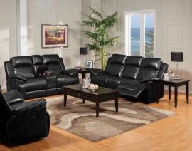 Cortez Collection 22-244-PBK Black Power Reclining Sofa & Console Loveseat Set