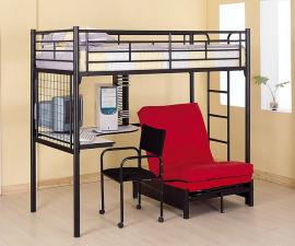 Tyrese Collection 2209 Black Metal Workstion Loft Bunk Bed
