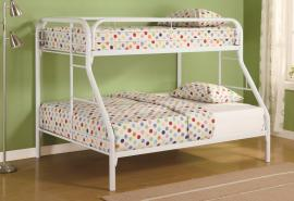 Audrey Collection 2258W White Twin/Full Metal Bunk Bed
